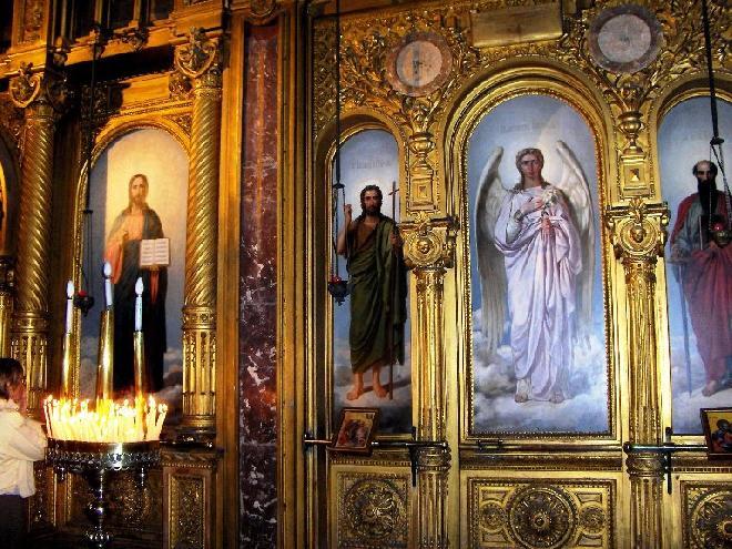 Interior of an iron church of St. Stefan