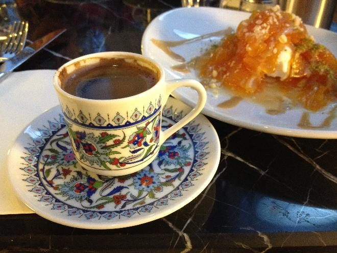 Turk kahvesi ve kabak tatlisi
