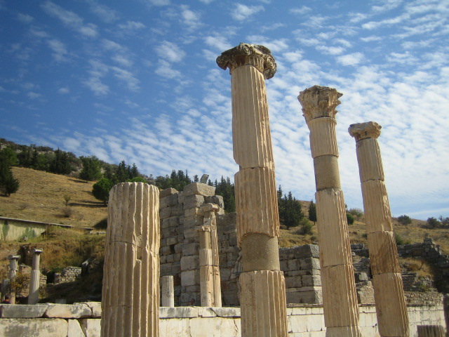 Pillars and Blue Sky