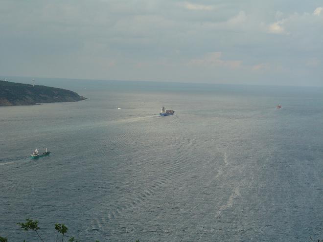 A ship leaving Turkey